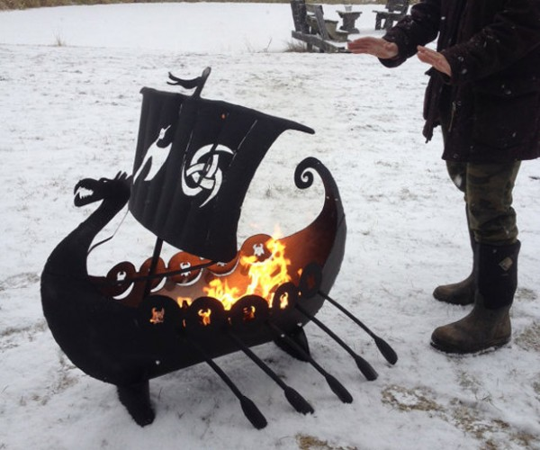 Viking Ship Fire Pit Carries Flames to Valhalla