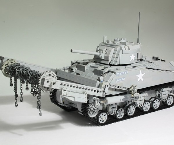 Motorized LEGO Sherman Tank with Minesweeping Flail