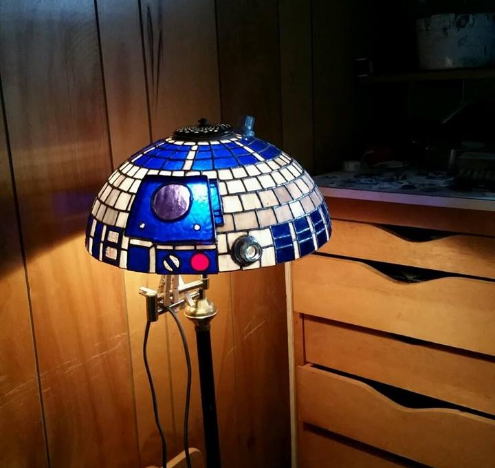 This stained glass r2 d2 lamp shade is a major award technabob r2d2lampshade1 zoom in mozeypictures Image collections