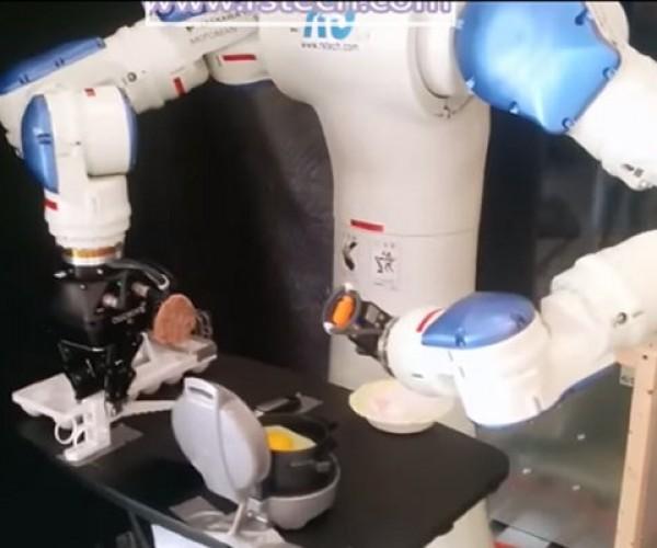 Yaskawa Motoman Industrial Robot Cooks an Egg Sandwich