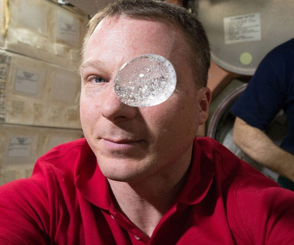 ISS Astronaut Blows a Space Bubble