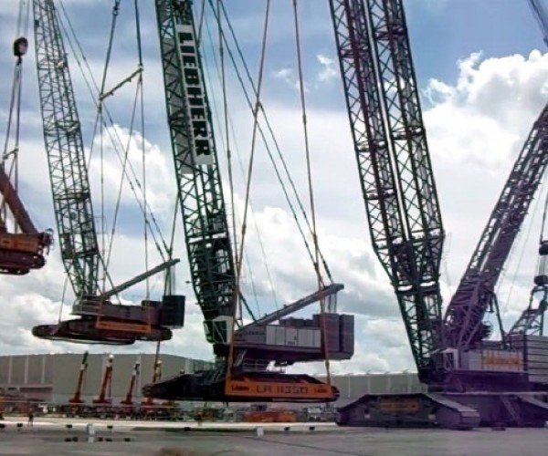 Giant Crane Lifts a Crane, Which Lifts a Crane, and So On