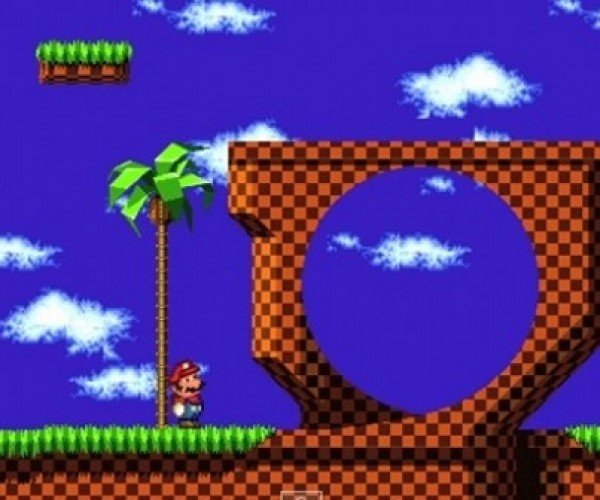 Mario Lands in Sonic's World