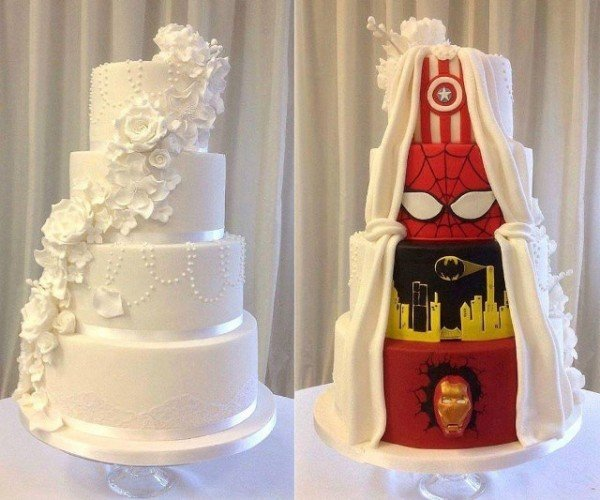 Two-Faced Wedding Cake Is the Ultimate Compromise