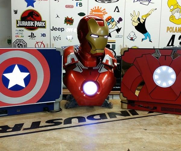 Captain America Xbox One Laptop & Iron Man PS4 Laptop: Console War
