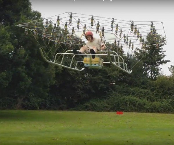 Guy Builds Homemade Flying Machine Using 54 Drone Rotors