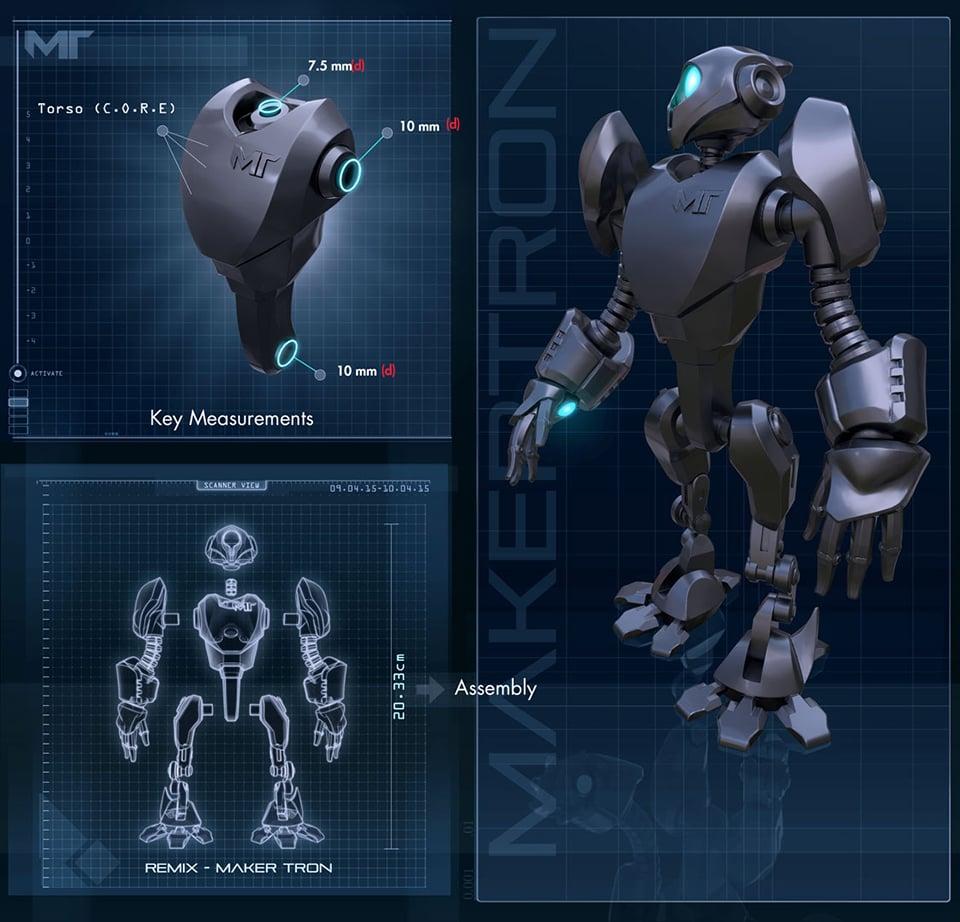 Makertron robot 3d model design contest technabob for 3d blueprint creator