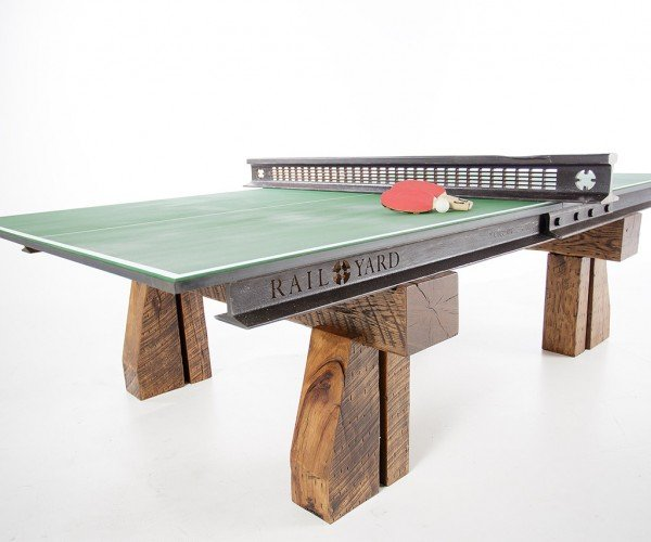 This Ping Pong Table Is Made from Railroad Tracks and Ties