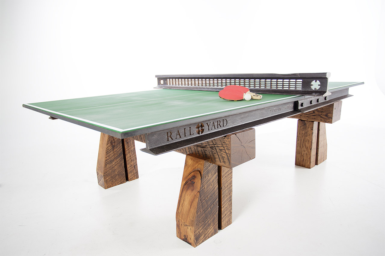 This ping pong table is made from railroad tracks and ties - What is the size of a ping pong table ...