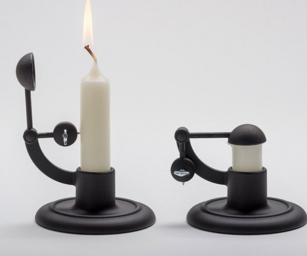 This Candle Holder Extinguishes Its Flame to Prevent Fires