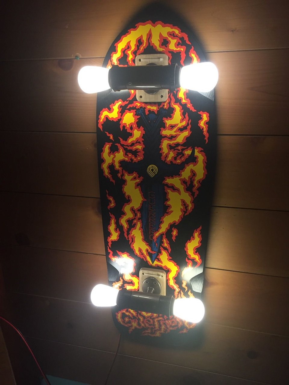 Upcycled Skateboard Wall Lamp Bulbflip Into Lightslide