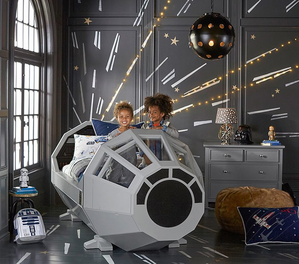 Pottery barn millennium falcon cockpit bed the priciest for Childrens rocket bed