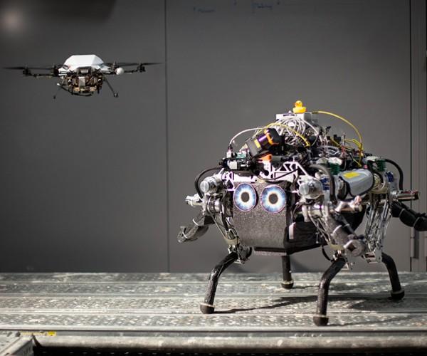 Walking Robot Has Drone Scout: Banjo-Kazooiebot