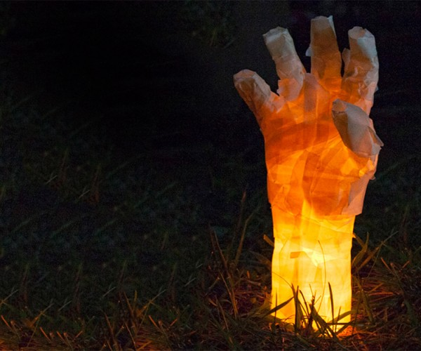Make Your Own Glowing Masking Tape Mummy Hands