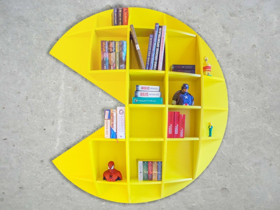 Pac Man Bookshelf Wokka Wokka Booka