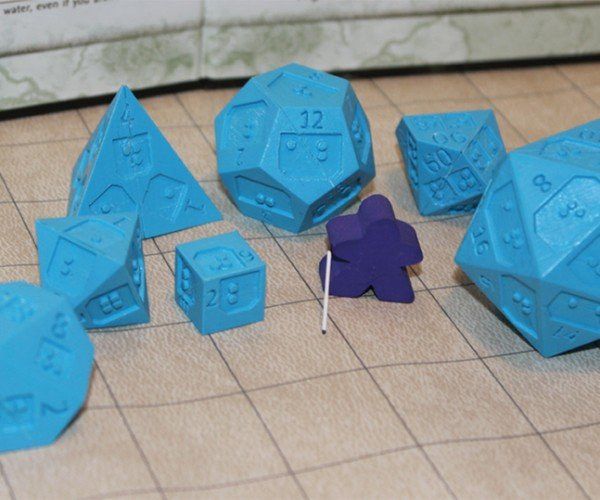 Braille Polyhedral Dice: Dots & Dragons