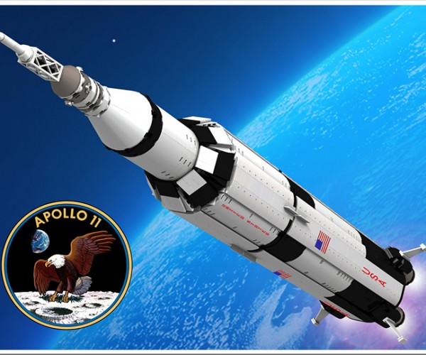 LEGO Apollo 11 Saturn V Rocket Concept: the Eagle Has Almost Landed