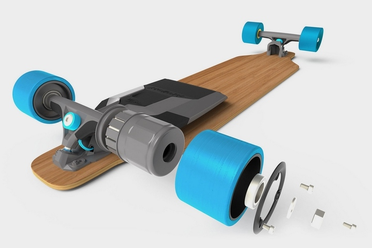mellow drive adds a motor to any skateboard technabob. Black Bedroom Furniture Sets. Home Design Ideas