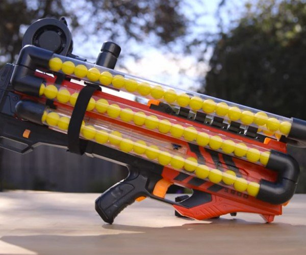 DIY NERF Rival Zeus Rifle108-Ball Magazine: Good Luck Picking Those Up