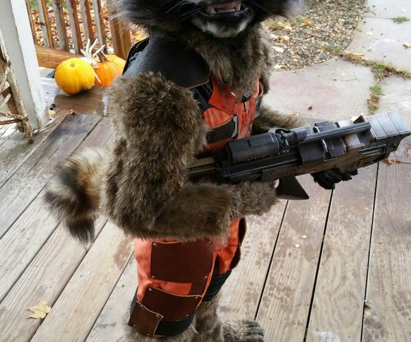 DIY Kid's Rocket Raccoon Costume: Guardian of the Front Porch