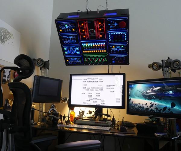 DIY Overhead PC Control Panel Makes Working Infinitely More Fun