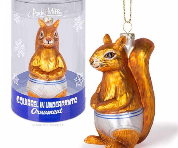 Squirrel in Underpants Christmas Ornament