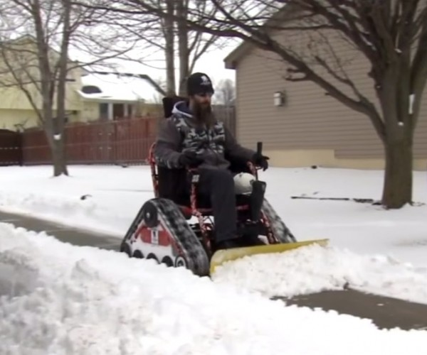 Guy Plows Snow for His Neighbors Using Modified Off-Road Wheelchair