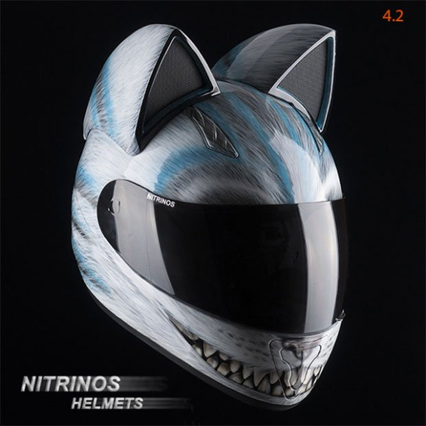 cat motorcycle helmets are pawesome technabob. Black Bedroom Furniture Sets. Home Design Ideas