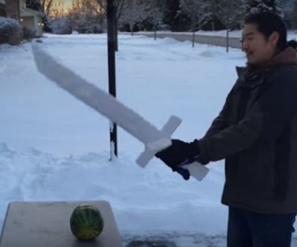 Guy Builds Functional Ice Sword, Chops Stuff