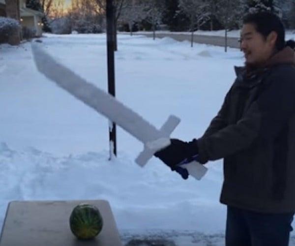 Guy Builds Functional Ice Sword, Chops Stuff