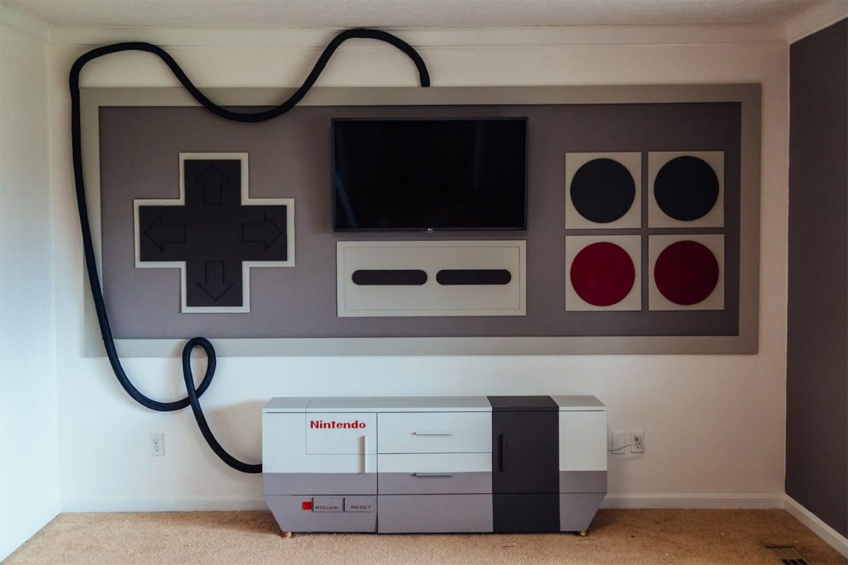 Custom nes game room nintendo entertainment sanctuary for Meuble gaming