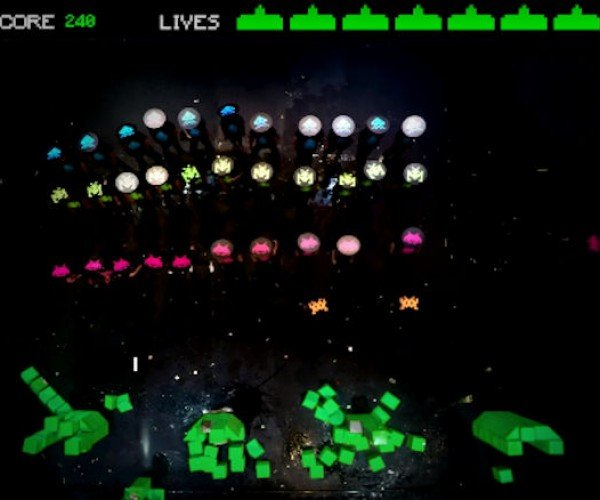 Space Invaders Recreated in Real Life