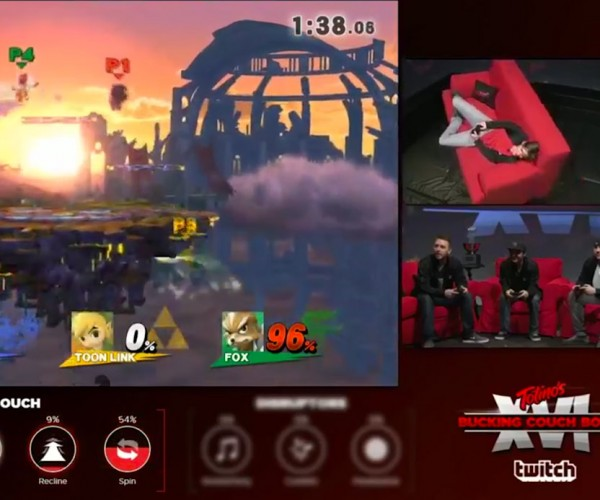 Smash Bros. Played on a Twitch-controlled Bucking Couch is Glorious