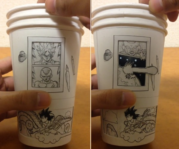 Interactive Dragon Ball Z Scene Plays out on Coffee Cups