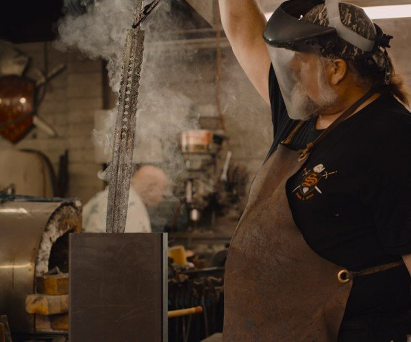 Making a 93-layer Damascus Steel Roman Gladius Sword Is Beautiful