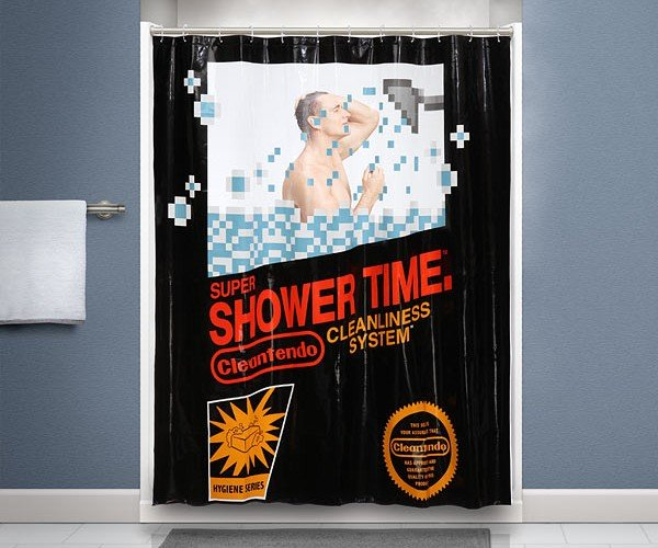 Retro NES Shower Curtain: Super Shower Time