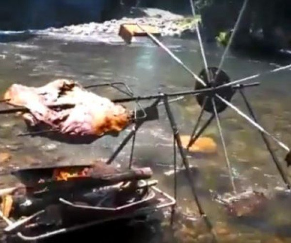 River-Powered Rotisserie: Now You're Cooking with Water!