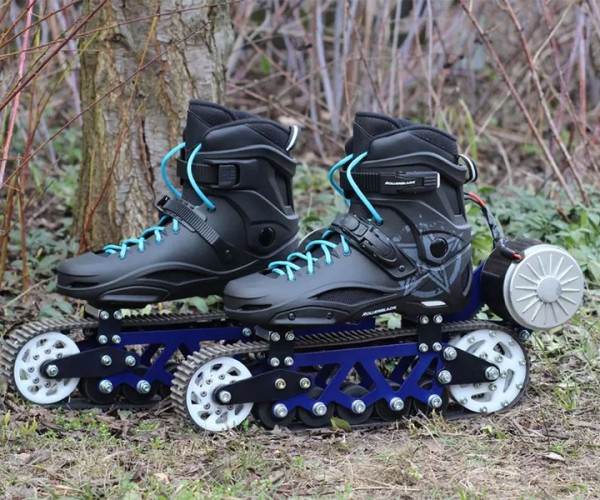 Electric Rollerblades Scoot Across Dirt on Tank Treads