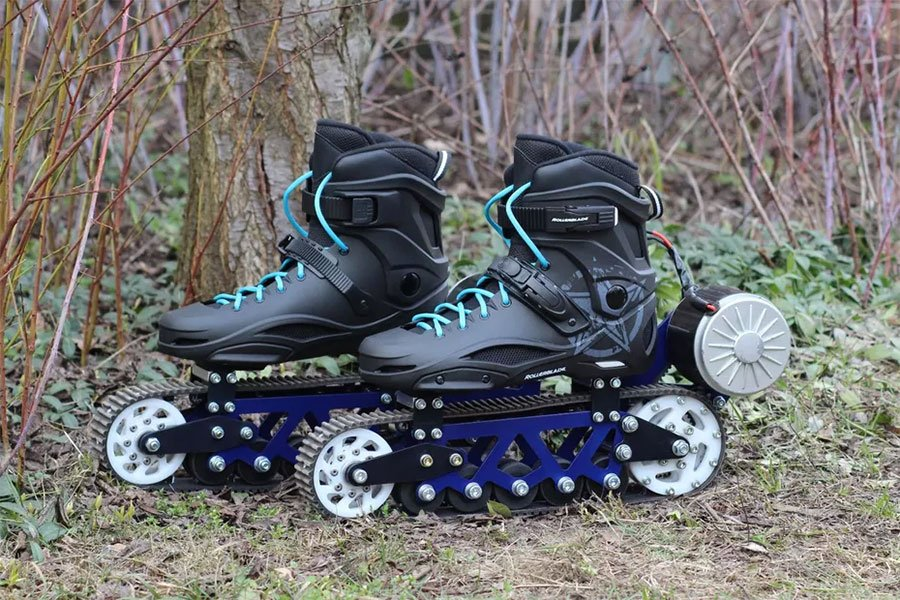 Electric rollerblades scoot across dirt on tank treads for Shark tank motorized skates