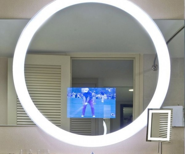 Trinity Lighted Bathroom Mirror Hides Tiny TV: Channel 1 or Channel 2?
