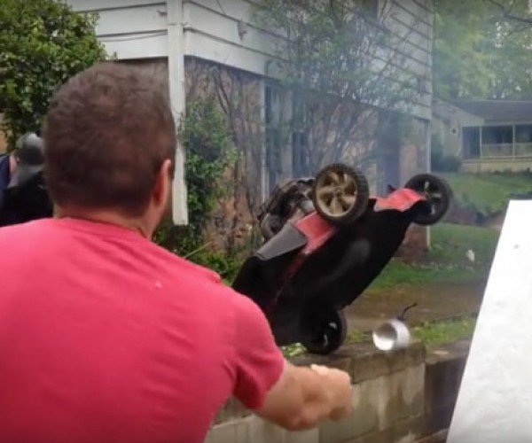Guy Throws Spray Paint Cans into Lawnmower, Makes Art and Fire