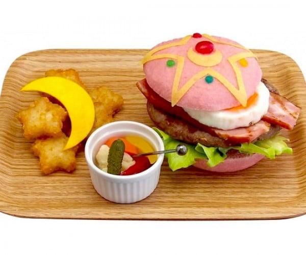 Sailor Moon Hamburger Has Pink Buns and Star Hashbrowns
