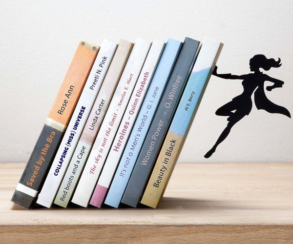 Superheroine Bookend and Bookshelf: Superlibrarian