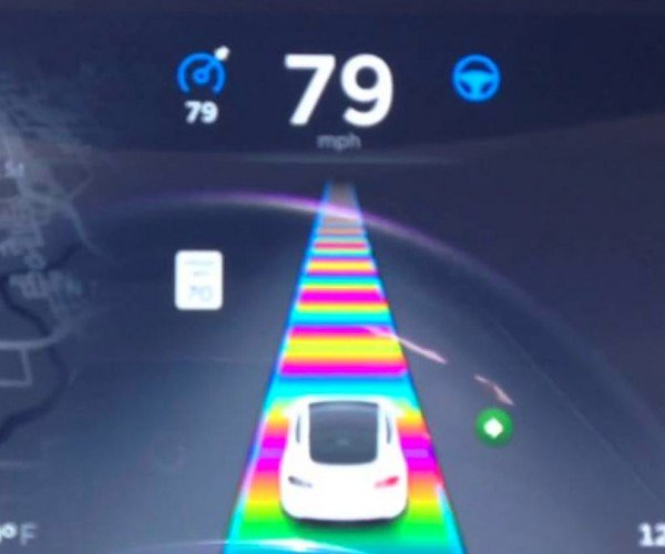Tesla Easter Egg is Mario Kart's Rainbow Road