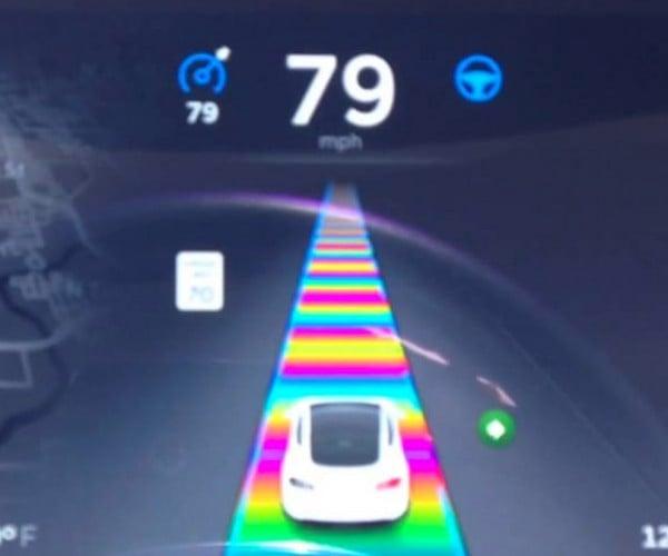 Tesla Easter Egg is Mario Kart's Rainbow Road