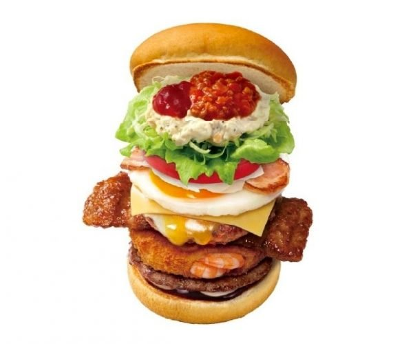 Japan's Most Disgusting Burger Melds Beef, Pork, Shrimp, Eggs, and More