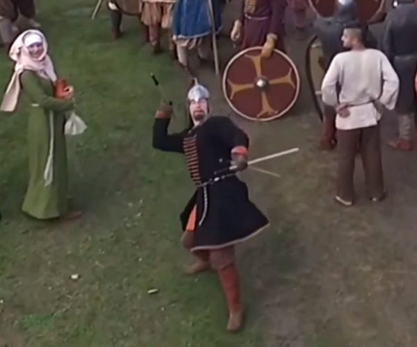 Guy With a Spear Takes Down Flying Drone at a Russian History Festival