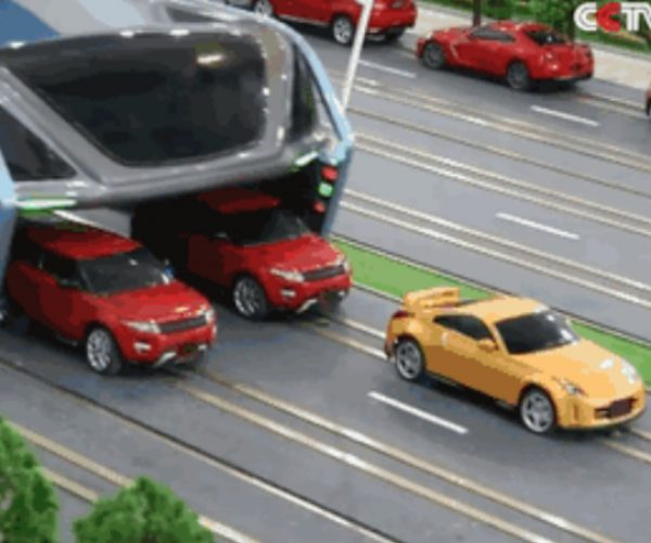 Elevated Bus Drives Over Traffic, Will Not Be Stopped