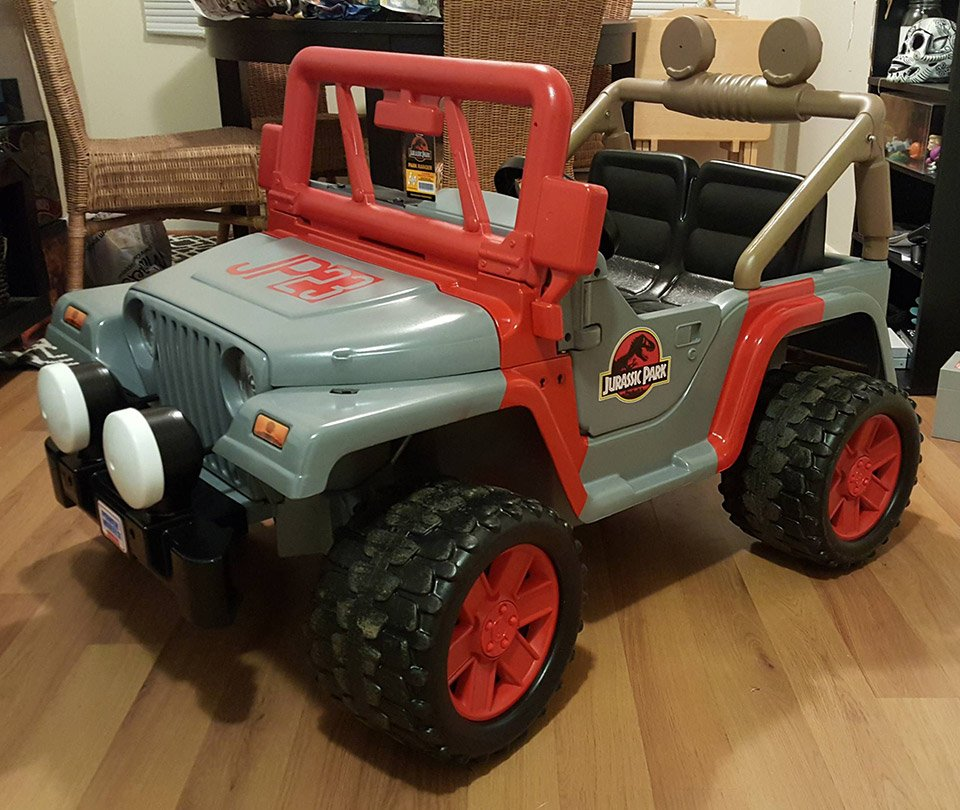 jurassic park power wheels jeep dinosaur wrangler technabob. Black Bedroom Furniture Sets. Home Design Ideas