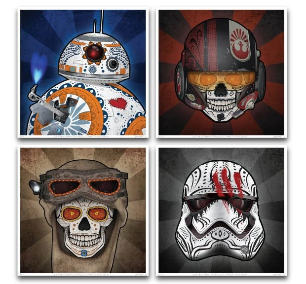 star_wars_the_force_awakens_day_of_the_dead_prints_by_john_karpinsky_1